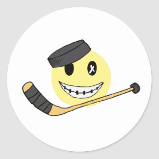 HOCKEY FACE CLASSIC ROUND STICKER