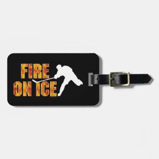 Hockey Fire On Ice Luggage Tag