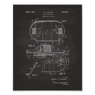 Hockey Game Board 1937 Patent Art - Chalkboard Poster