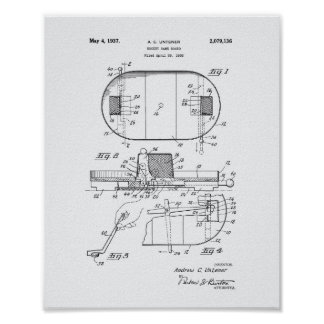 Hockey Game Board 1937 Patent Art - White Paper Poster