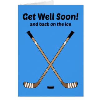 Hockey Get Well Soon Crossed Hockey Sticks Blue Greeting Card