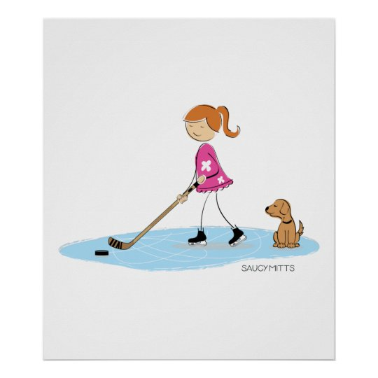 Hockey Girl Cartoon Poster