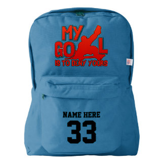 Hockey Goalie Quote Name & Number Print Backpack