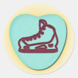 Hockey Goalie Skate Valentine Candy Classic Round Sticker