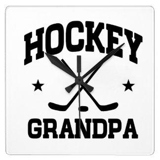 Hockey Grandpa Square Wall Clock