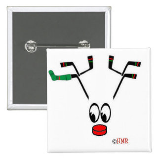 """Hockey Holidays"" Button/Pin 2 Inch Square Button"