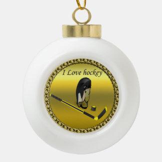 Hockey I Love custom design with stick and helmet Ceramic Ball Christmas Ornament