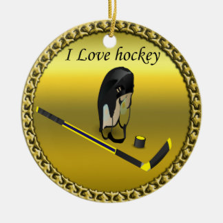 Hockey I Love custom design with stick and helmet Ceramic Ornament