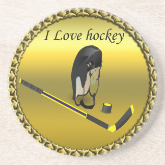 Hockey I Love custom design with stick and helmet Coaster