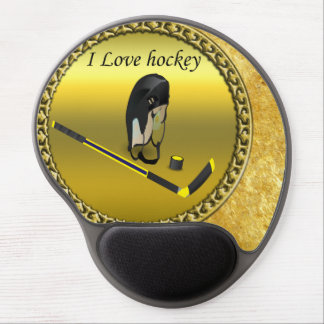 Hockey I Love custom design with stick and helmet Gel Mouse Pad