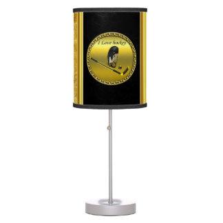 Hockey I Love custom design with stick and helmet Table Lamp