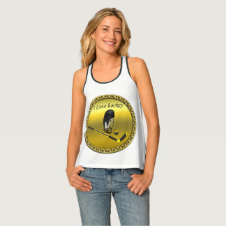 Hockey I Love custom design with stick and helmet Tank Top