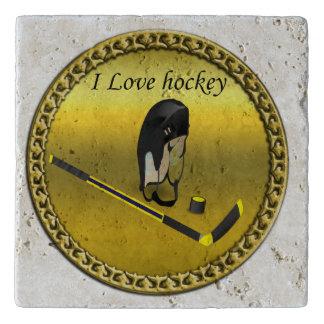 Hockey I Love custom design with stick and helmet Trivet