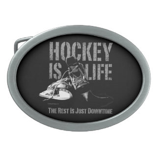 Hockey Is Life Oval Belt Buckles