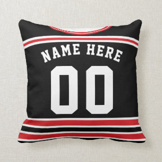 Hockey Jersey Name & Number Template Pillow Blue