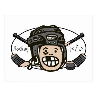 Hockey Kid Black Postcards