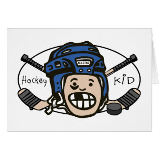 Hockey Kid Blue Greeting Card