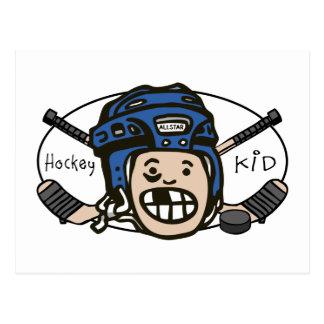 Hockey Kid Blue Postcard