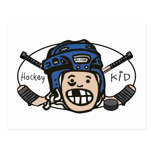 Hockey Kid Blue Postcards