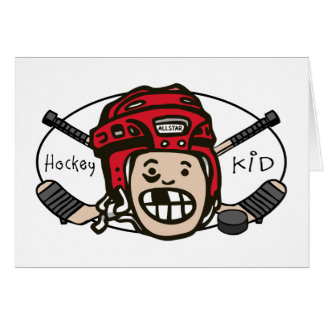 Hockey Kid Red Greeting Cards