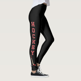 Hockey Letters in a Red and White Leggings