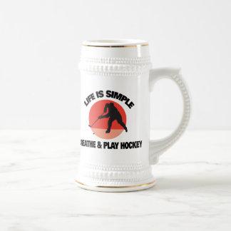 Hockey Life Is Simple Beer Stein