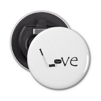 Hockey Love Button Bottle Opener
