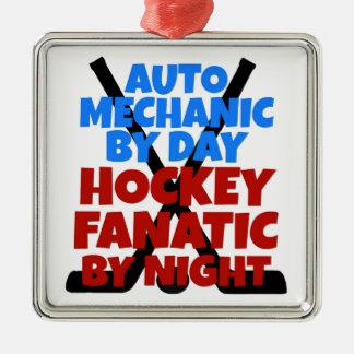 Hockey Lover Auto Mechanic Silver-Colored Square Ornament