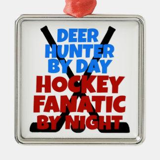 Hockey Lover Deer Hunter Metal Ornament