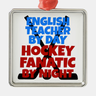 Hockey Lover English Teacher Metal Ornament