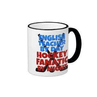 Hockey Lover English Teacher Ringer Mug