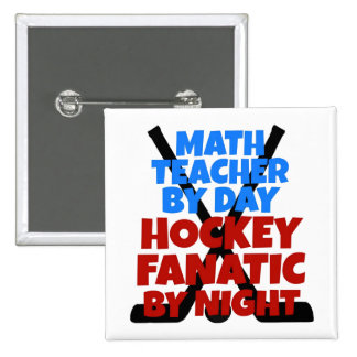 Hockey Lover Math Teacher 2 Inch Square Button