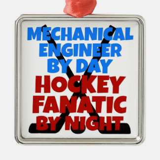 Hockey Lover Mechanical Engineer Silver-Colored Square Ornament