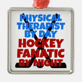 Hockey Lover Physical Therapist Silver-Colored Square Ornament