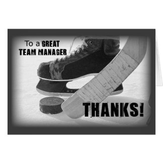 Hockey Manager Thanks, Skates, Stick and Puck Greeting Card