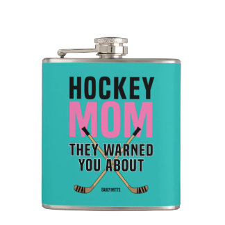 Hockey Mom They Warned You About Aquamarine Hip Flask