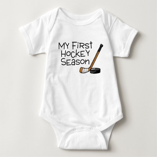 Hockey My First Hockey Season (Stick and Puck) Baby Bodysuit