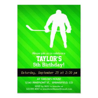 "Hockey; Neon Green Stripes 5"" X 7"" Invitation Card"