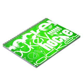 Hockey; Neon Green Stripes Notebooks