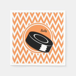 Hockey; Orange and White Chevron Napkin