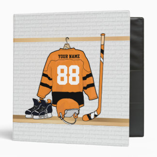Hockey orange, blanc et noir personnalisé classeur vinyle