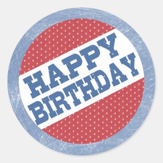 Hockey Party Sticker - Happy Birthday