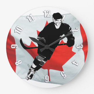 Hockey Player  and Canadian Flag Large Clock