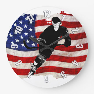 Hockey Player  and Tattered US Flag Large Clock