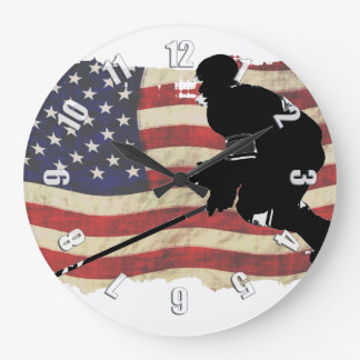 Hockey Player  and US Flag - Winter Sports Large Clock