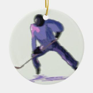 Hockey Player Art Round Ceramic Ornament