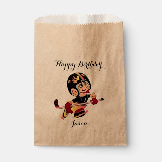 HOCKEY PLAYER CARTOON   bag Kraft Favour