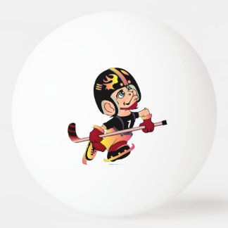 HOCKEY PLAYER CARTOON BALL OF PING PONG