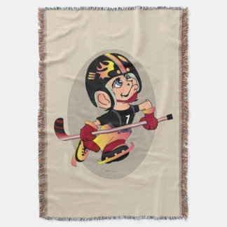 HOCKEY PLAYER CARTOON Throw Blanket