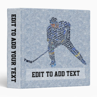 Hockey Player Customizable 3 Ring Binder Binder